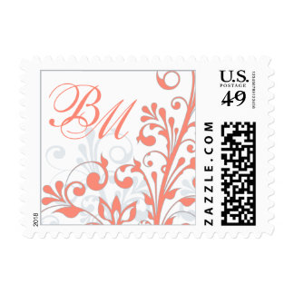 Coral Grey White Abstract Floral Wedding Postage