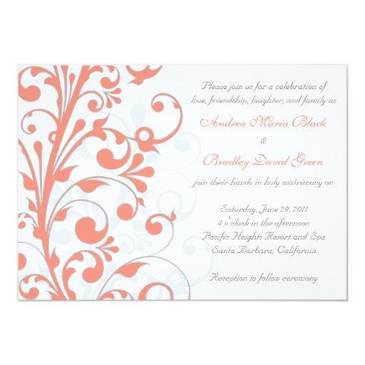 Coral, Grey White Floral Wedding Invitation