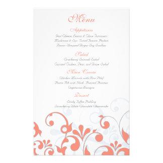 Coral Grey White Floral Wedding Menu Card