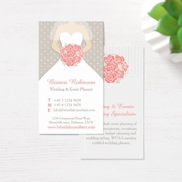Professional Business Coral, grey & white wedding planner business card