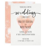 Coral handwritten typography wedding invitation