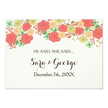 Coral He said, She said bridal shower game card