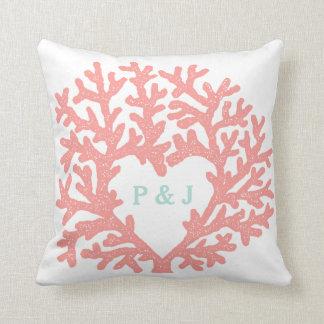 Coral Heart Aqua Beach Wedding Custom Date Throw Pillow