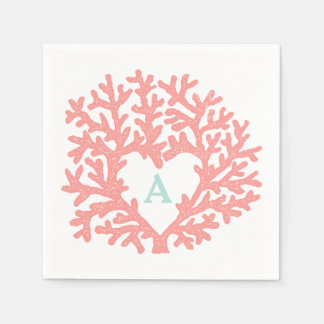 Coral Heart Aqua Beach Wedding Custom Napkin