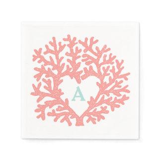 Coral Heart Aqua Beach Wedding Custom Napkin