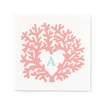 Beach Themed Coral Heart Aqua Beach Wedding Custom Napkin
