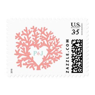 Valentines Themed Coral Heart Aqua Beach Wedding Custom Postage