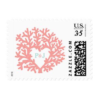 Coral Heart Aqua Beach Wedding Custom Stamps