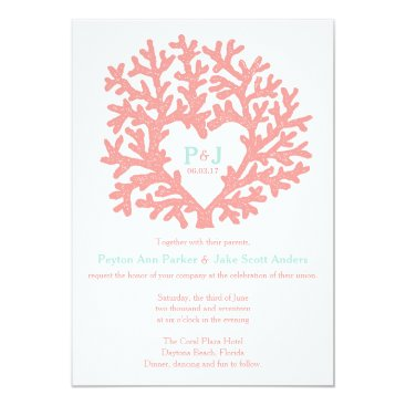 Beach Themed Coral Heart Aqua Beach Wedding Invitations