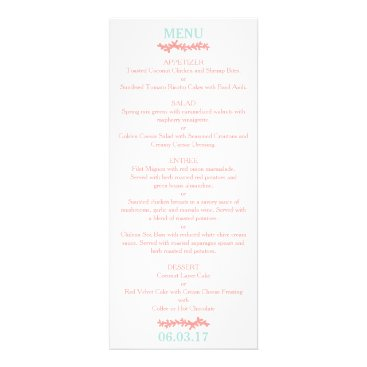 Beach Themed Coral Heart Aqua Beach Wedding Menu