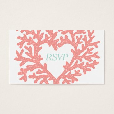 Beach Themed Coral Heart Aqua Beach Wedding RSVP Response Business Card