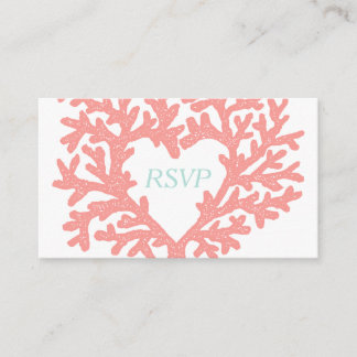 Coral Heart Aqua Beach Wedding RSVP Response Enclosure Card