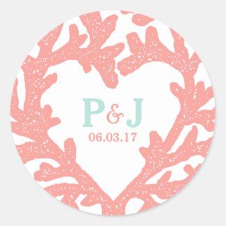 Coral Heart Aqua Beach Wedding Stickers