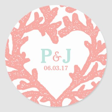 Beach Themed Coral Heart Aqua Beach Wedding Stickers