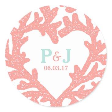 Beach Themed Coral Heart Aqua Beach Wedding Stickers