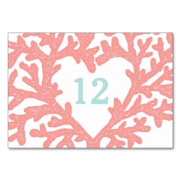 Beach Themed Coral Heart Aqua Beach Wedding Table Numbers
