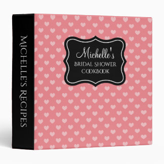 Coral heart bridal shower recipe binder cook book