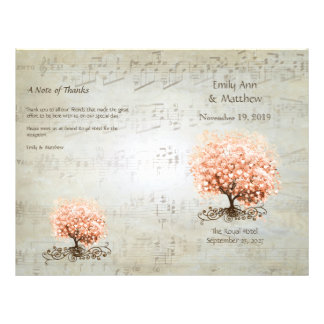 Coral Heart Leaf Tree Wedding Programs