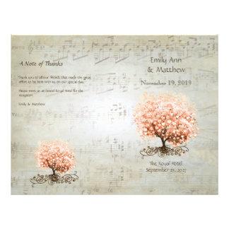 Coral Heart Leaf Tree Wedding Programs