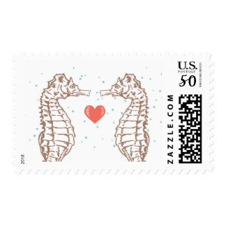 Coral Heart & Seahorse Love Wedding Postage Stamps
