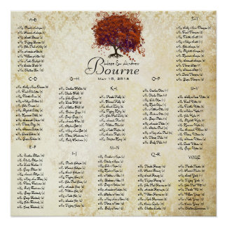 Coral Heart Tree- 100 to 150 guests - alphabetical Poster