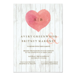 Coral Heart Watercolor Wedding Invitations