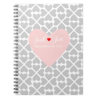 coral heart wedding guest book planner notebook