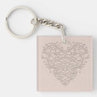 Coral HeartyChic Acrylic Key Chains