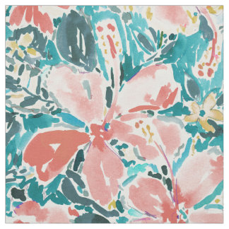 Coral Hello Hibiscus Watercolor Floral Fabric