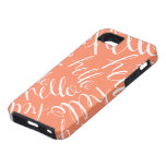 """Coral """"Hello"""" iPhone 5 Case"""