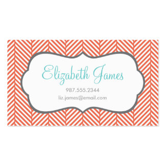 Coral Herringbone Double-Sided Standard Business Cards (Pack Of 100)
