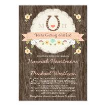 Coral Horseshoe Heart Western Wedding Invitation