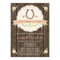 CORAL HORSESHOE WESTERN COWGIRL BABY SHOWER CARD