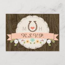 CORAL HORSESHOE WESTERN WEDDING RSVP CARD