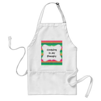 Coral Hot Pink Green Saw Blade Ripples Waves Patte Adult Apron