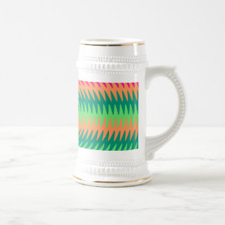 Coral Hot Pink Green Saw Blade Ripples Waves Patte Beer Stein