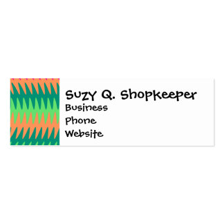 Coral Hot Pink Green Saw Blade Ripples Waves Patte Double-Sided Mini Business Cards (Pack Of 20)