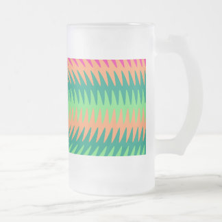 Coral Hot Pink Green Saw Blade Ripples Waves Patte Frosted Glass Beer Mug