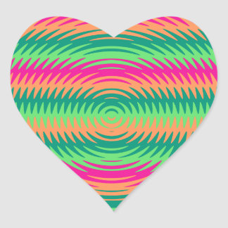 Coral Hot Pink Green Saw Blade Ripples Waves Patte Heart Sticker