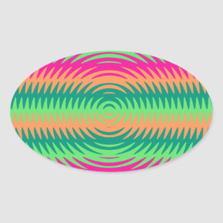 Coral Hot Pink Green Saw Blade Ripples Waves Patte Oval Sticker