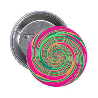 Coral Hot Pink Green Whirlpool Swirl Lollipop Desi 2 Inch Round Button