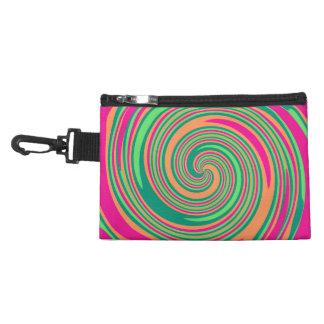 Coral Hot Pink Green Whirlpool Swirl Lollipop Desi Accessories Bag