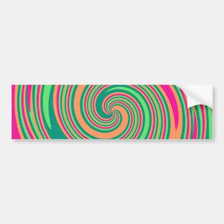 Coral Hot Pink Green Whirlpool Swirl Lollipop Desi Bumper Sticker