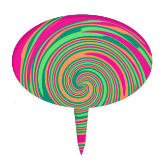 Coral Hot Pink Green Whirlpool Swirl Lollipop Desi Cake Topper