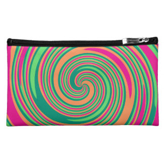Coral Hot Pink Green Whirlpool Swirl Lollipop Desi Makeup Bag