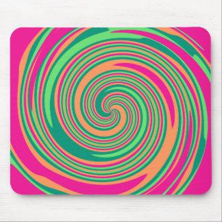 Coral Hot Pink Green Whirlpool Swirl Lollipop Desi Mouse Pad