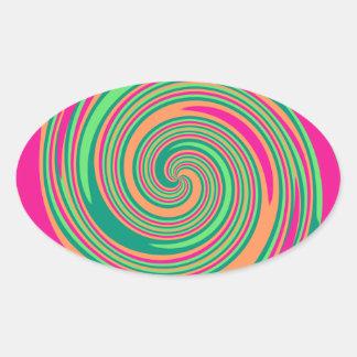 Coral Hot Pink Green Whirlpool Swirl Lollipop Desi Oval Sticker