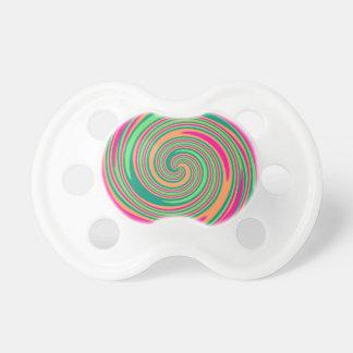 Coral Hot Pink Green Whirlpool Swirl Lollipop Desi Baby Pacifier