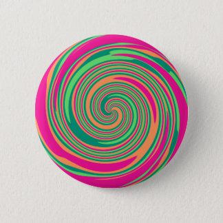 Coral Hot Pink Green Whirlpool Swirl Lollipop Desi Pinback Button