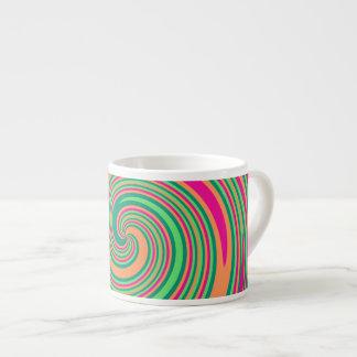 Coral Hot Pink Green Whirlpool Swirl Lollipop Desi Espresso Cups